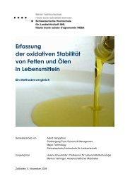 Erfassung der oxidativen Stabilität von Fetten und Ölen in ... - HAFL
