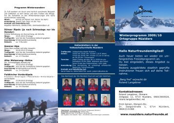 Winterprogramm 2009/10 Ortsgruppe Nüziders Hallo ...