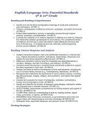 English/Language Arts: Essential Standards