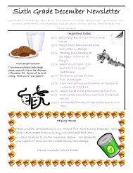 Sixth Grade December Newsletter