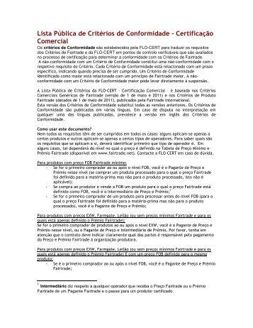 Lista Pública de Critérios de Conformidade ... - FLO-CERT GmbH