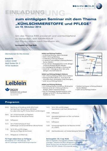 Anmeldeformular HAHN+KOLB-Seminar Kühlschmierstoffe und ...