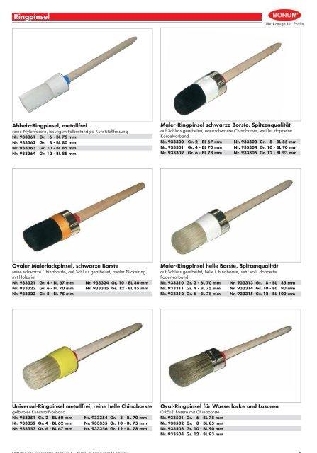 per St/ück Standart 50 mm helle China Borste 44 mm 13 mm Flachpinsel 12 St/ück