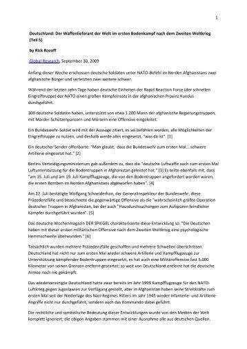1 Deutschland: Der Waffenlieferant der Welt im ersten Bodenkampf ...