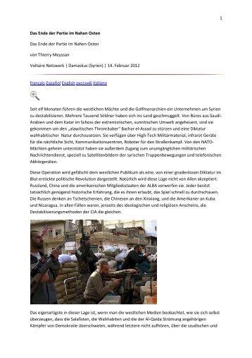1 Das Ende der Partie im Nahen Osten Das Ende der Partie im ...