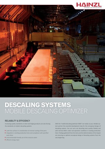 DESCALING SYSTEMS MOBILE DESCALING OPTIMIZER - Hainzl ...