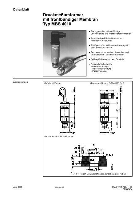 Druckmeßumformer mit frontbündiger Membran Typ MBS 4010
