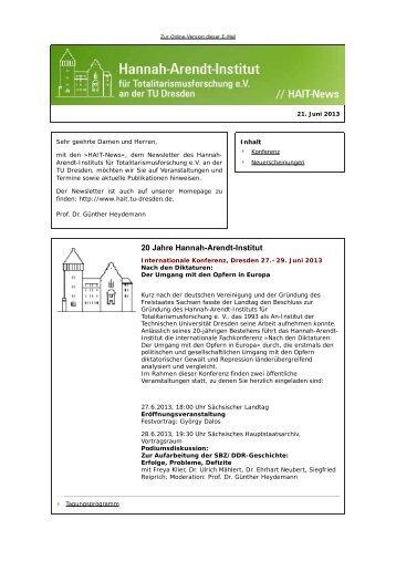 Newsletter vom 21.6.2013 - Hannah-Arendt-Institut Dresden