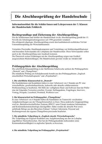 Die Abschlussprüfung der Handelsschule - Hak Feldkirch
