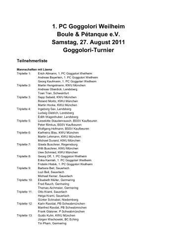 1. PC Goggolori Weilheim Boule  & Pétanque e.V. Samstag, 27 ...
