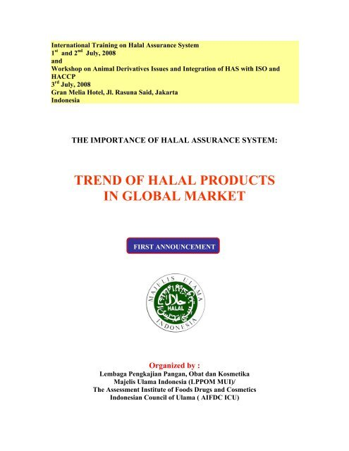 Workshop of Animal Derivates Issues and Integration     - Halal Control