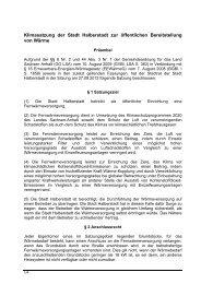 Klimasatzung der Stadt Halberstadt zur öffentlichen Bereitstellung ...