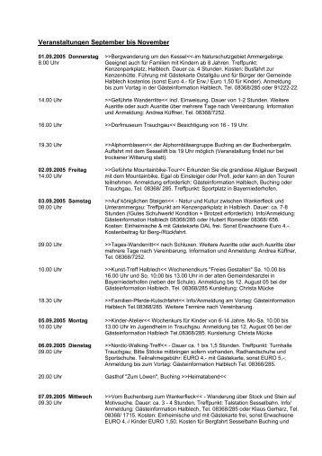 Veranstaltungen September bis November - Halblech