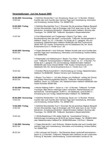 Veranstaltungen Juni bis August 2005 - Halblech