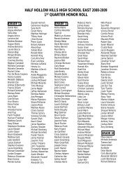 half hollow hills high school east 2008-2009 1st quarter honor roll