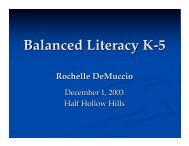 Balanced Literacy K-5 - Half Hollow Hills
