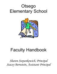 Otsego Elementary School Faculty Handbook - Half Hollow Hills