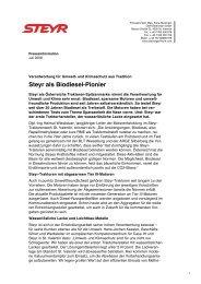 Steyr als Biodiesel-Pionier