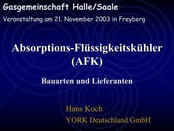 Absorptions-Flüssigkeitskühler (AFK) - Gasgemeinschaft Halle