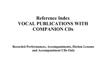Reference Index VOCAL PUBLICATIONS WITH ... - Hal Leonard