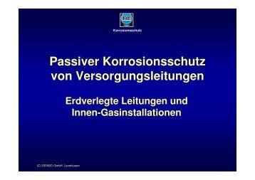 Passiver Korrosionsschutz von Versorgungsleitungen