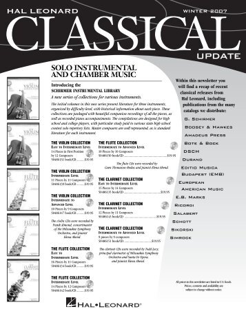 2007 Winter Classical Update (562KB) - Hal Leonard