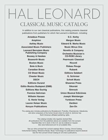 table of contents / vocal - Hal Leonard