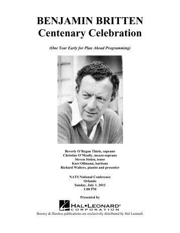 BENJAMIN BRITTEN Centenary Celebration - Hal Leonard