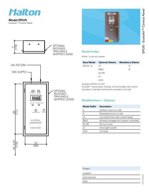 EPLV5 Control Panel - Halton Company on