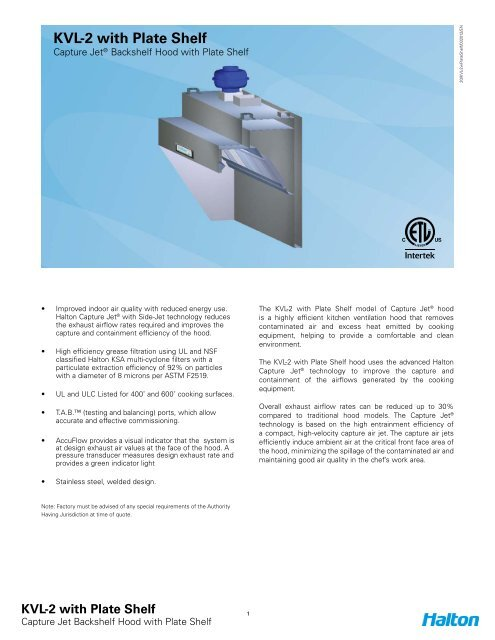 KVL-2 with Plate Shelf Spec Sheet - Halton Company