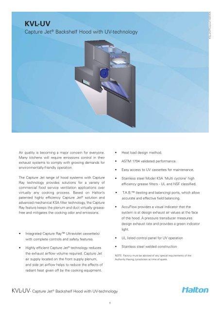 KVL-UV Spec Sheet - Halton Company