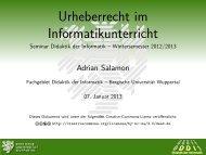 Urheberrecht im Informatikunterricht - Seminar Didaktik der Informatik