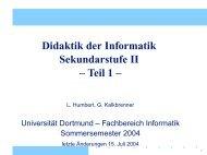 Didaktik der Informatik Sekundarstufe II – Teil 1 –