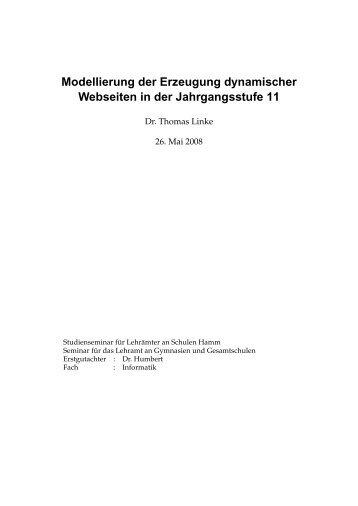 Modellierung der Erzeugung dynamischer Webseiten in der ...