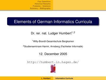 Elements of German Informatics Curricula