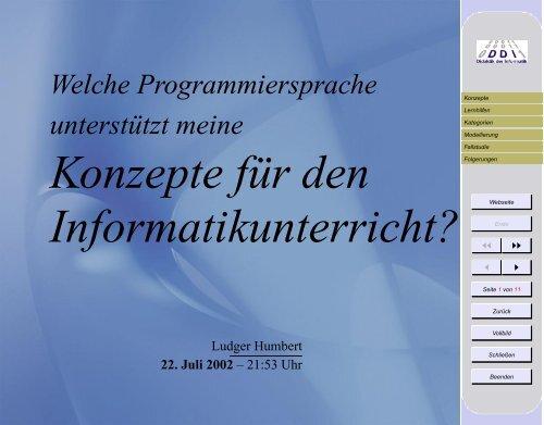 Konzepte für den Informatikunterricht?
