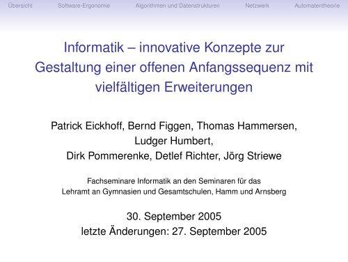 Informatik – innovative Konzepte zur Gestaltung einer offenen ...