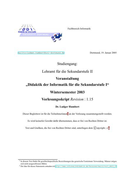 Vorlesung: Didaktik der Informatik - Sekundarstufe I, Wintersemester ...