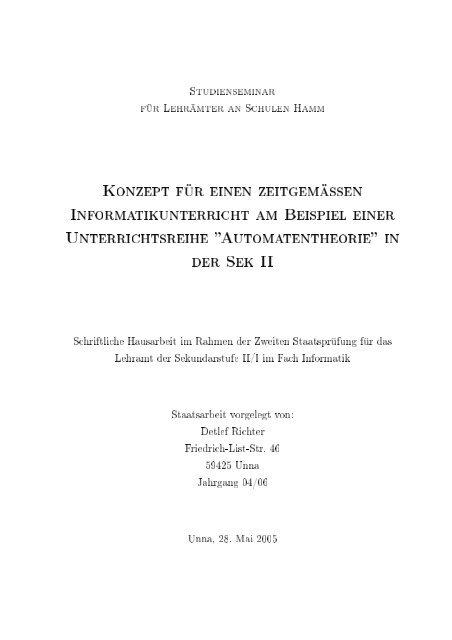 SтudiEnsEмinAr für LEhräмтEr An SchulEn НAмм Konzept Für ...