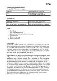 Protokoll Themenworkshop Rahmenplanung - Hohenhorst