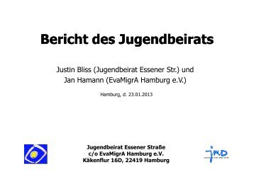 Bericht des Jugendbeirats Essener Straße_Januar 2013 - Hohenhorst