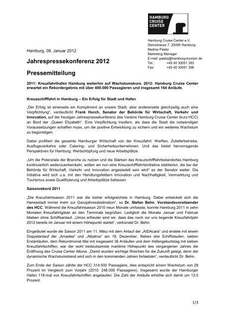 Pressemitteilung zur HCC-Jahrespressekonferenz - Hamburg ...