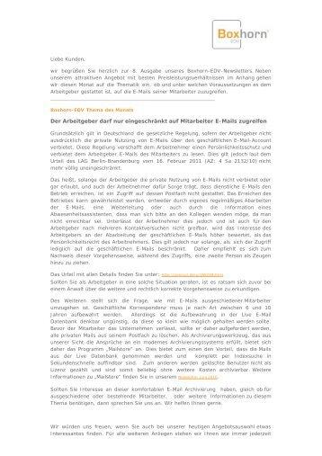 Newsletter August 2011 - Boxhorn EDV