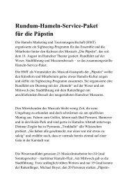 Rundum-Hameln-Service-Paket für die Päpstin - Stadtmarketing