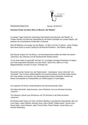 """Hamelner Kinder als kleine Stars im Musical """"Die ... - Stadtmarketing"""