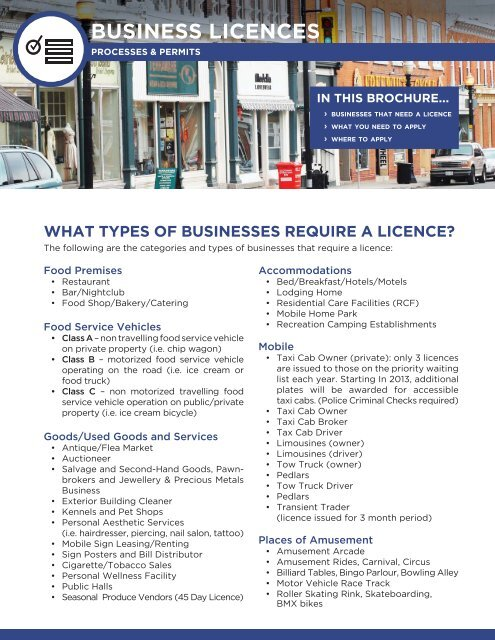 business licences in this brochure    - City of Hamilton