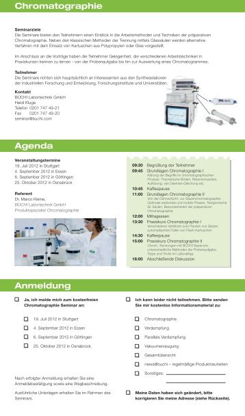 Chromatographie Agenda Anmeldung - Büchi Labortechnik Gmbh