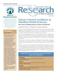 Cancer research excellence at Hamilton Health Sciences