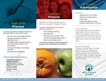 Process Application Process - Hamilton Health Sciences