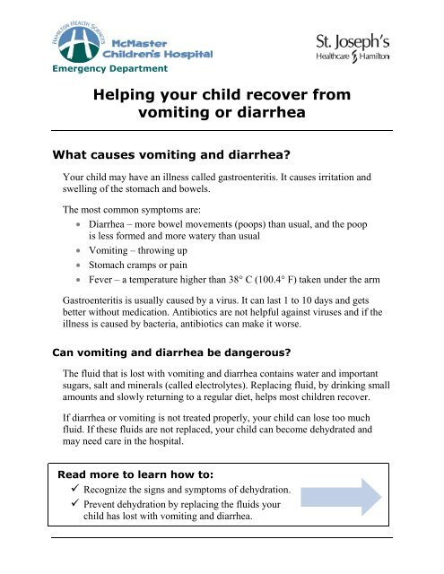 Vomiting or Diarrhea; Helping your child to recover from vomiting or ...